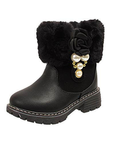 Girls Kids Infant Fur Lined Flower Pearl School Winter Ankle Boots Shoes UK Size