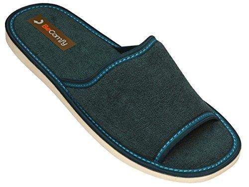 Hausschuhe Baumwolle Damen Pantolette Komfort Pantoffeln Latschen Modell DN03 Gr眉n