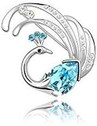Lily joyas turquesa Cristal austríaco con cristales de Swarovski broche con forma de Pin de pavo real para mujer