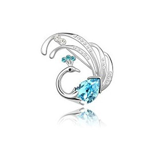 Lily Jewelry Aqua Blue Austrian Crystal Swarovski Elements Peacock Pin Brooch For Women