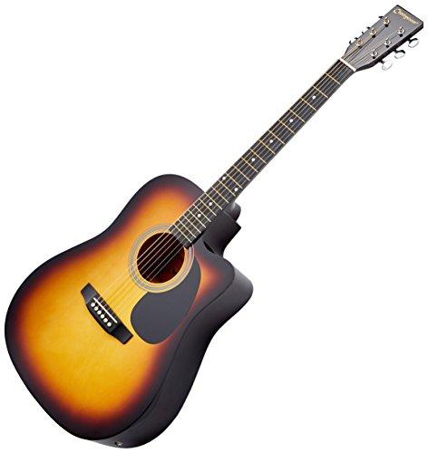 Cherrystone 4260180883251 Cutaway 4 Band EQ Westerngitarre mit Tonabnehmer schwarz