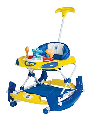 Mee Mee Anti-Fall Baby Walker with Rocker, Adjustable Height and Seat (Blue)