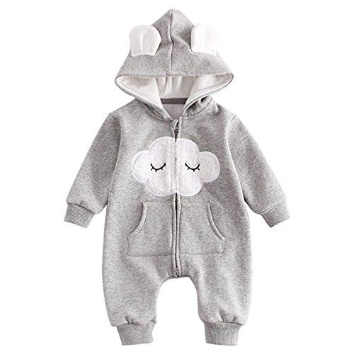 Bebone Baby Overall Jungen Mädchen Strampler mit Kapuze (9 Monate, Grau) - Monate 9 Overall