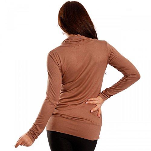 Damen Basic Shirt Rollkragen Longsleeve Latte -grafer.eu