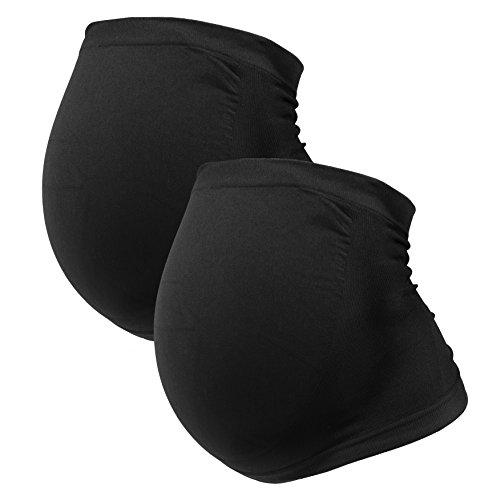 Bauchband, Seamless-Nahtlose Umstandsmode für Schwangere, stützt und wärmt den Babybauch von HERZMUTTER (3300)- Gr.XL im Doppelpack, Schwarz