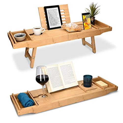 Navaris Bandeja de Madera para Cama y bañera - Mesa con Patas Plegables de bambú con Soporte para Libro o Tablet portavasos y Ranura para el móvil