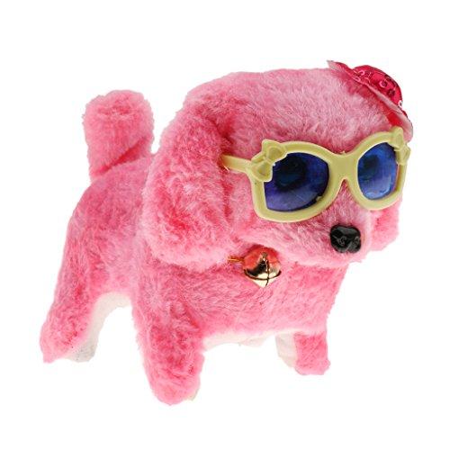 Sharplace Elektronischer Hund Hündchen Spielzeug, Laufender Plüsch Welpen Spielzeug, Hund batteriebetrieben Haustier Spielzeug - Rosa Hut + Gläser