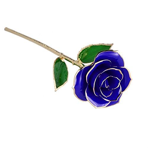 Rosa 24K chapado  U KISS Rosa en Oro Chaapado con Caja de regalo  Mejor Regalo para el Día de Tarjeta  Día de San Valentín   Día de madre  Aniversario  Regalo de Cumpleaños  Regalo para el Amante  la Novia y la madre (AZUL)
