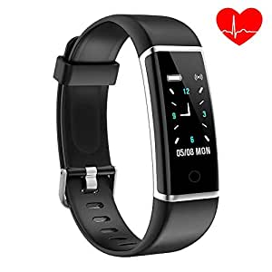 YoYoFit Kids Fitness Tracker with Heart Rate Monitor, Smart GPS Running Activity Tracker Pedometer Step Counter Fitness Watch with Slim Touch Color Screen and Wristband, Black