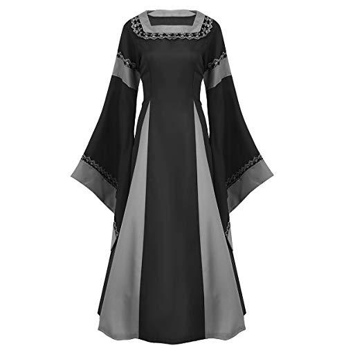 Agoky Damen Mittelalter Kleid Langarm zum schnüren festlich Bodenlang Halloween Kostüm Vampir Bekleidung Weinachten Faschingskostüm Outfit Schwarz XL(Brust 102cm)