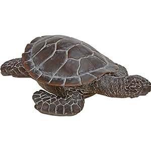 Große Dekofigur Schildkröte Steinguss Bronze-Optik Antik-Stil