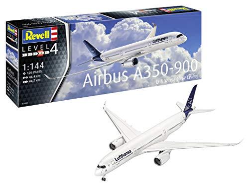 Revell 03881 Airbus A350-900 Lufthansa New Livery originalgetreuer Modellbausatz für Fortgeschrittene, Mehrfarbig, 1/144
