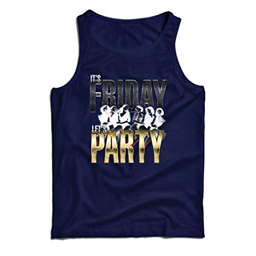lepni.me Weste Es ist Freitag, Lass Uns feiern, 60s 70s 80s Disco, Partykleidung (Large Blau Mehrfarben) (Ideen Crossfit Halloween)