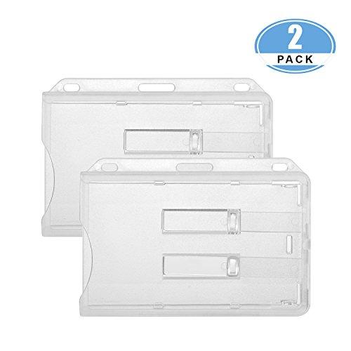 JUMI Ausweishülle für 2 Karten Ausweishalter Kartenhülle aus Hartplastik transparent für Ausweise ID Karte Kreditkarten mit zwei Schiebern aus Polycarbonat 2 Pack
