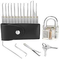 GHB Lockpicking Lockpick set Professionelles 15-teiliges Pick-Set Schlossknacken Schlüssel Extractor Werkzeug + Transparente Übungs-Vorhängeschlösser für Schlosserei