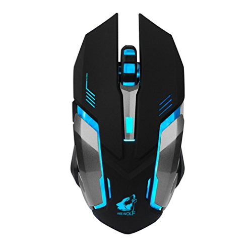 sansee rahtetes verd lumire LED USB optique ergonomique pro gamer Gaming Souris Plateau mtallique (Free Wolf X74000dpi)