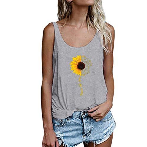 Andouy Damen Mode Persönlichkeit Gedruckt Rundhals Kurzarm T-Shirt Bluse Tops(L(38).Grau-Sonnenblume) -