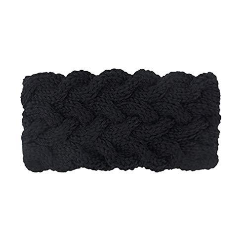 KQueenStar Winter Gestrickte Stirnband - Häkeln Headwrap Häkeln Stirnband Haarband Headwrap Hut Cap Ohr wärmer, 3schwarz, M -