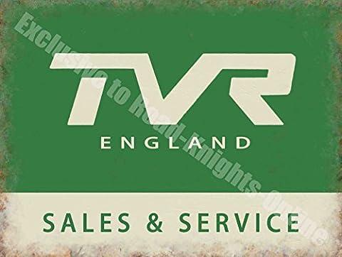 TVR England Verkauf & Dienstzeit, Vintage Garage Sportwagen Metall/Stahl Wandschild - 15 x 20 cm