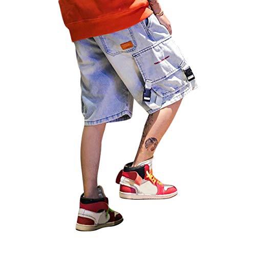 Irypulse Jeans in Cotone Uomo, Pantaloncini Cargo Denim con Tasche Multiple Pantcourt Moda di Strada Urbana per Adolescenti e Ragazzi, Pantaloni Corti Stile Vintage Hip Hop - Design Originale
