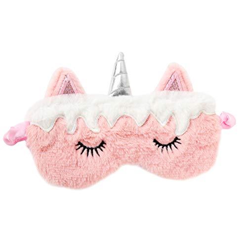 Niedlich Pelzigen Tier Kostüm - Lurrose Nette Einhorn Augenmaske Schlaf Augenabdeckung Weichem Plüsch Augenmaske Augenbinde für Frau Mädchen Schlaf Nickerchen Reise