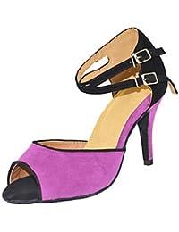 "No personalizables Zapatos de baile femenino Cuero Cuero América /modernas Sneakers Chunky talón práctica,4"" (10cm) Slim de tacón alto,Purple,US5.5/EU36/UK3.5/CN35"