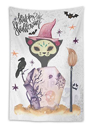 Timingila Weiß Grabstein, Katze & glücklich Halloween Halloween Wandbehang Dekor Wohnzimmer gedruckt indischen Gobelin-54 x 44 Zoll (Grabsteine Für Verkauf)
