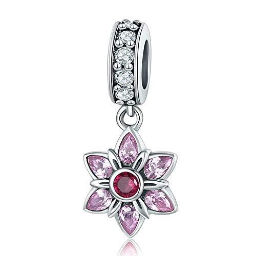 Pendenti fiore rosa ciondolo 100% in argento sterling 925con ciondolo rosa cristallo primavera fiore rosa cz fascino braccialetto & collana di gioielli