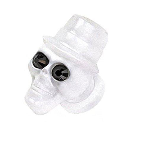 Piercingfaktor Ohr Plug Flesh Tunnel Piercing Ohrpiercing Schraub Schraubverschluß Totenkopf Spieler mit Hut 8mm Weiß