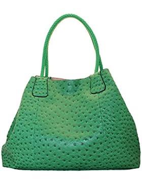Ravedoll Borsa a mano grande Smeraldo - Shopping bag da giorno in ecopelle con porta cellulare esterno.