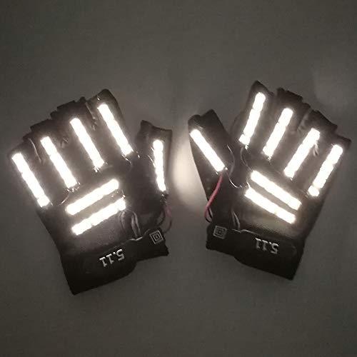 LED-Handschuhe für Bühnenshow Requisiten helles Licht Handschuhe Kostümball Werkzeug für Party Show Supplies, Warmweiß, Einheitsgröße ()