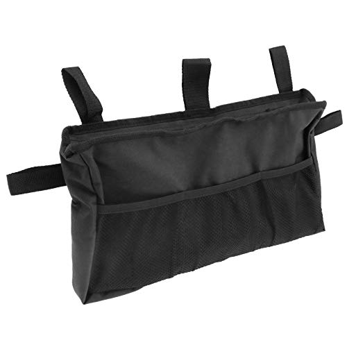 YINETTECH Rollstuhl Tasche Seitentasche Aufbewahrungstasche Zubehör Wasserdicht Verstellbar Leicht Tragbar Senioren 40,5x23cm Schwarz
