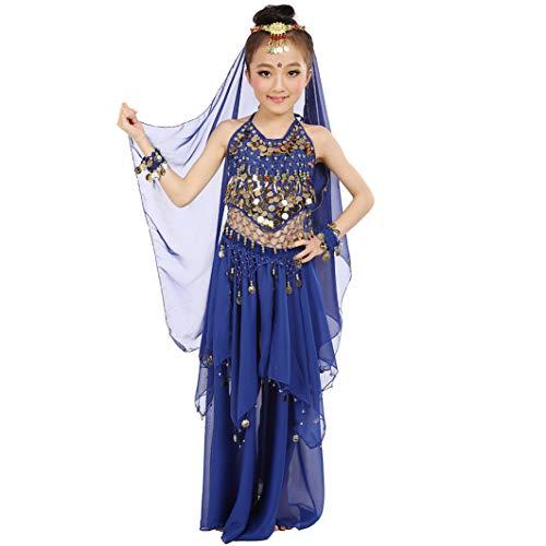 Magogo Mädchen Bauchtanz Kostüm Karneval Party Kostüm, Kinder Glänzende Dancewear Cosplay Arabische Prinzessin Outfit (L, ()