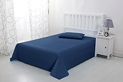 Luxury Non Iron Soft Microfibre Flat Sheet by Sonia Moer (Double, Navy)