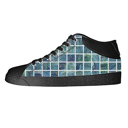 Dalliy Glas Mosaik Fliesen Textur Women's Canvas shoes Schuhe Lace-up High-top Footwear Sneakers (Lady Mosaik)
