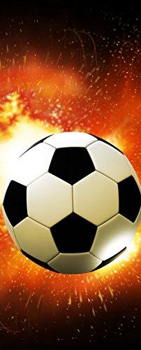 Preisvergleich Produktbild Türtapete Türposter selbstklebend – Fussball in Flammen – 90x205cm und 100x210cm - Fototapete Poster Türfolie Tapete – T00030