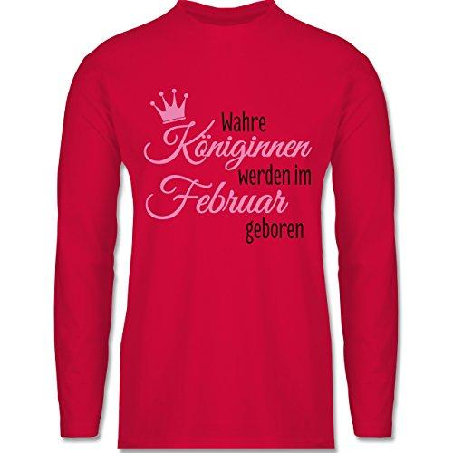 Geburtstag - Wahre Königinnen werden im Februar geboren - Longsleeve / langärmeliges T-Shirt für Herren Rot