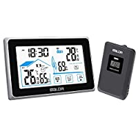 FLYLAND Wireless Weather Station, Digital Indoor Outdoor Thermometer Forecast Station with touch buttons,Home Temperature and Humidity Monitor, Large Display Digital Tabletop Hygrometer remote Sensor