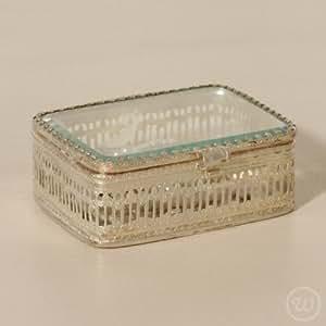 style Vintage en verre décoratif rectangulaire en verre et métal-Boîte à bijoux