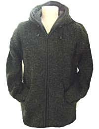 Fleece Lined Dark Grey ( Charcoal) Handknitted Woollen Jacket - Fair Trade