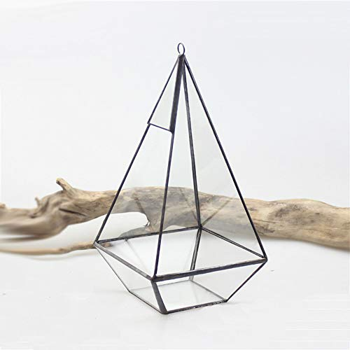 MINGZE Hanging Moderne Piramide Vetro Geometrico terrario Indoor Tabletop sukkulente Box Trasparente Aperto di Moss pflanzer (Nero Latta)