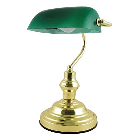 Searchlight Electric Advocate Bankers Desk Lamp 60W 15 Inch High Brass/Green Ref L959
