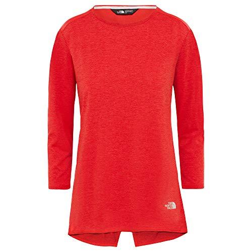 Red 3/4 Sleeve Top (THE NORTH FACE Inlux 3/4 Sleeve Top Women Größe XL Juicy red Dark Heather)