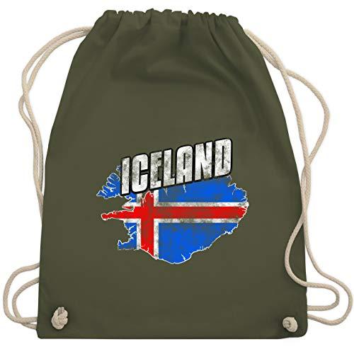 Fußball-Europameisterschaft 2020 - Iceland Umriss Vintage - Unisize - Olivgrün - WM110 - Turnbeutel & Gym Bag