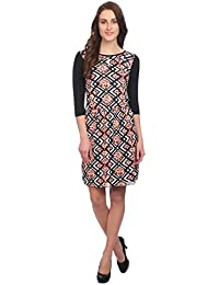 Veronique Women's Multicolor Polyester/Cotton 3/4Th Sleeve Knee Length Slim Fit Round Neck A-Line Printed Dress