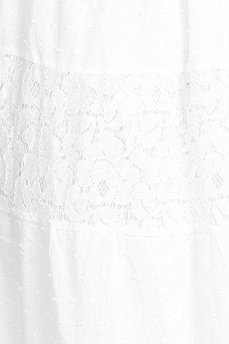 Anna-Kaci donna Abito stile Boho vestito lungamente smockato in pizzo increspato di pizzo impero Bianco