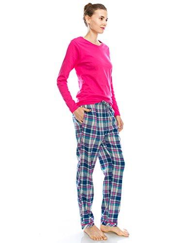 TINFL Damen Wuerfelmuster weich 100% Baumwolle Flannel Pyjama Lounge Sleep Pants 07-Bluepink