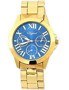 Armbanduhr - TOOGOO(R) Mode Damen Herren Roman Runduhr Gold Legierung Armband Analog Quarz Kleid Armbanduhr Blau