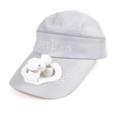 (Hut mit Fan, Abnehmbare Dual-Use-Qualität Sonnenhut,Silver)
