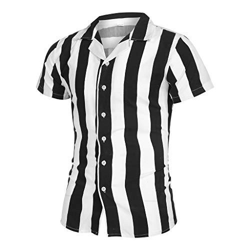 SSUPLYMY Herren Bluse Schwarzweiss-Streifen Stehkragen Kurzarm Loose Shirt Freizeithemd Kurzarmhemd mit gestreiften Nähten für Herren Stehkragen Streifen Kurzarm Loose Shirt